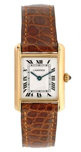 1225WC Cartier Ladies 18k Yellow Gold Tank Classic Watch SwissWatchExpo