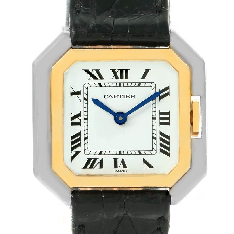 12124 Cartier Tank Paris Ceintire 18K White and Yellow Gold Ladies Watch SwissWatchExpo