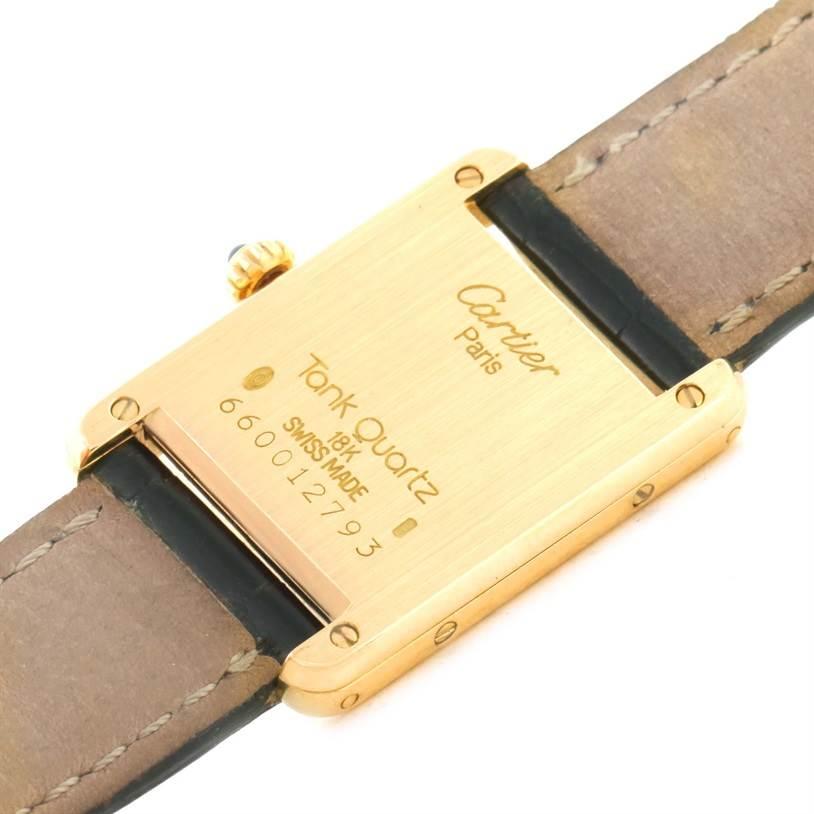 8656 Cartier Tank Classic Paris 18k Yellow Gold Black Strap Ladies Watch SwissWatchExpo