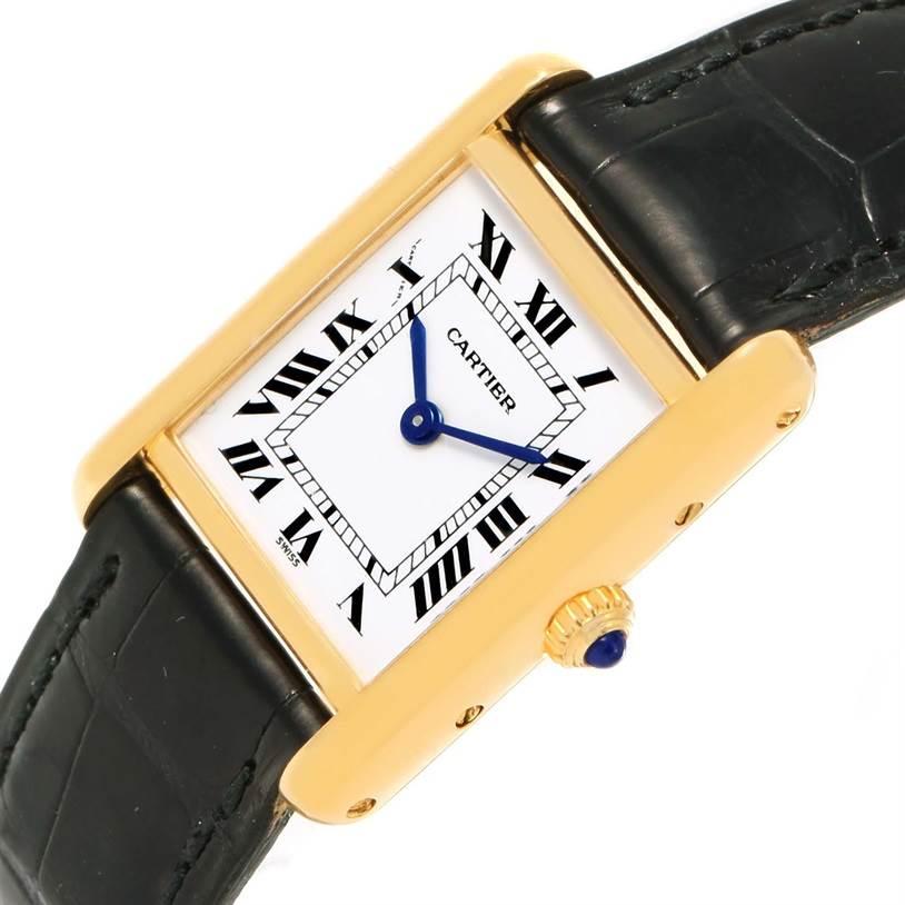 13961 Cartier Tank Classic Paris 18k Yellow Gold Black Strap Ladies Watch SwissWatchExpo