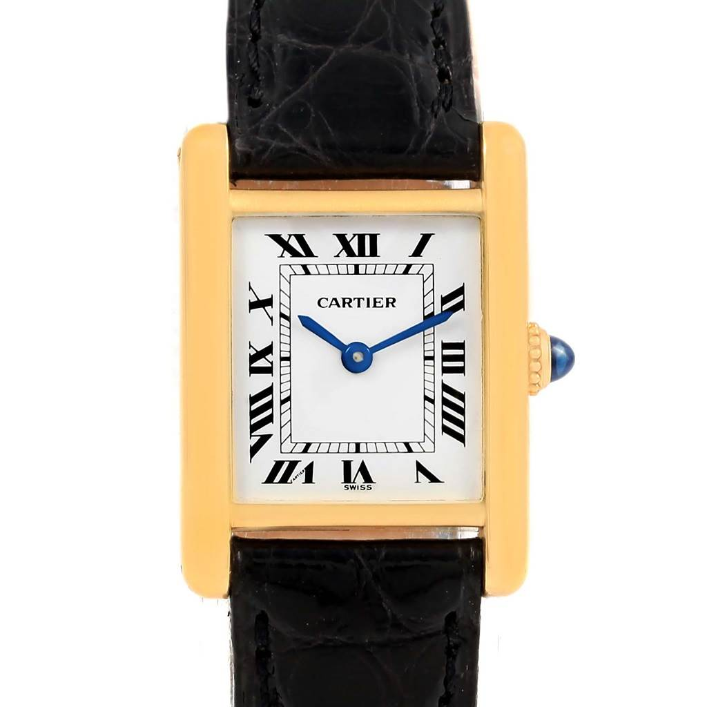 15358 Cartier Tank Classic Paris 18k Yellow Gold Black Strap Ladies Watch SwissWatchExpo