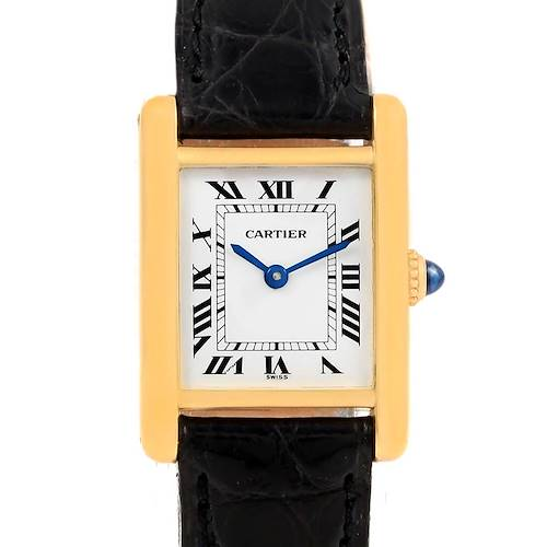 Photo of Cartier Tank Classic Paris 18k Yellow Gold Black Strap Ladies Watch