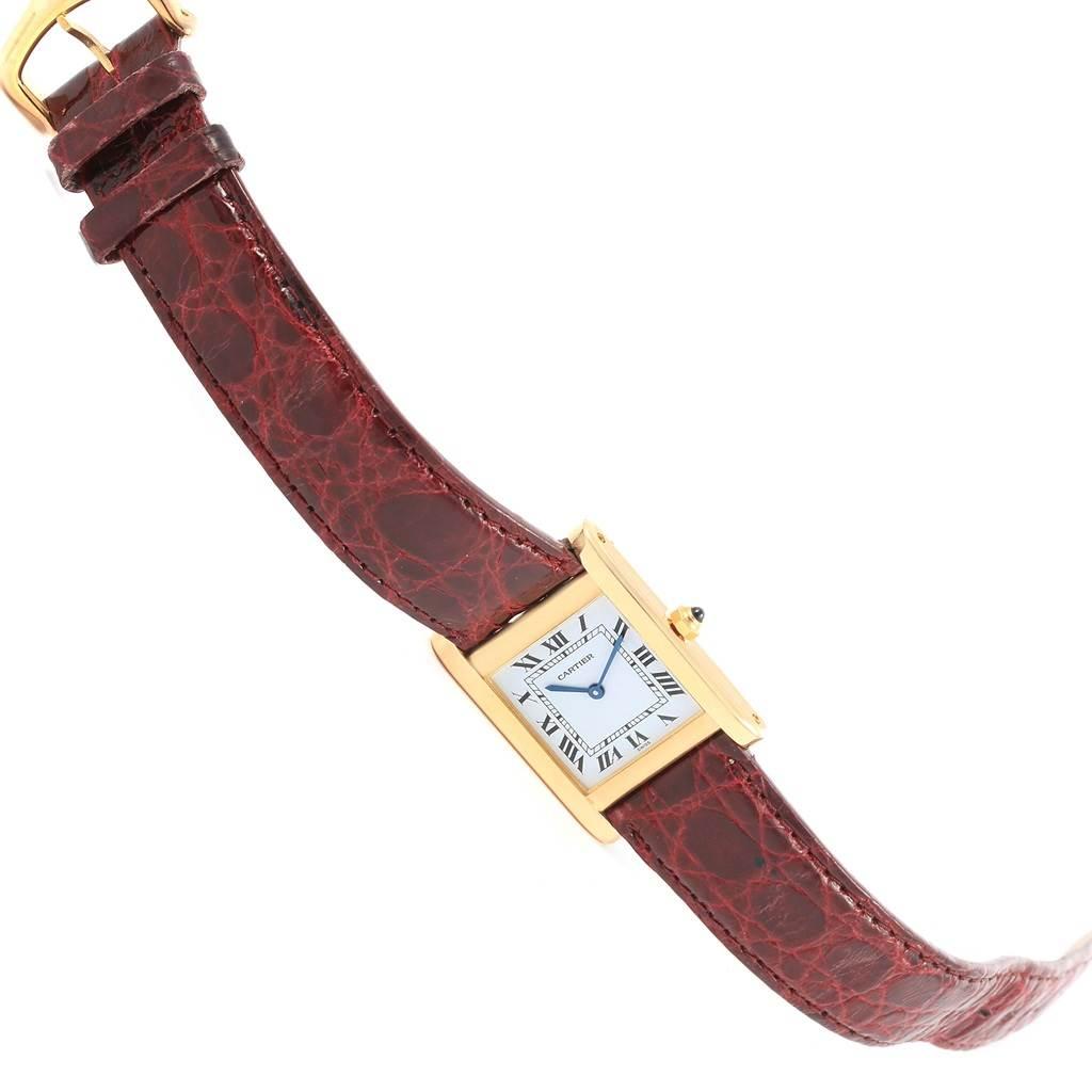 16663 Cartier Tank Classic Paris 18k Yellow Gold Leather Strap Ladies Watch SwissWatchExpo