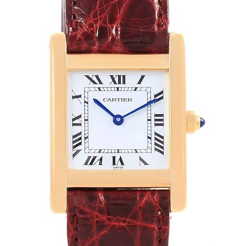 Photo of Cartier Tank Classic Paris 18k Yellow Gold Leather Strap Ladies Watch