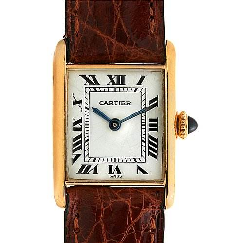 2469bb Cartier Tank Classic Ladies 18k Yellow Gold Watch SwissWatchExpo