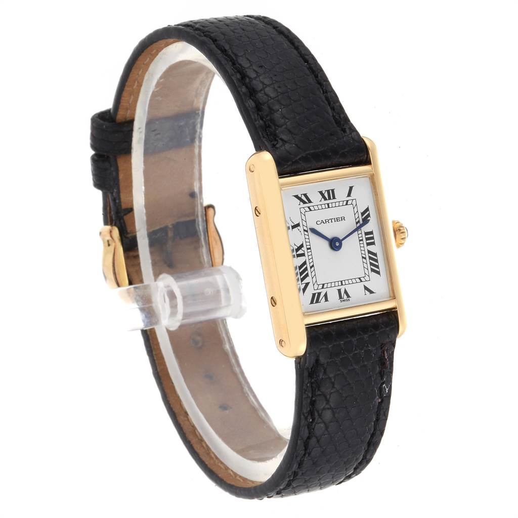 Cartier Tank Classic Paris 18k Yellow Gold Black Strap Ladies Watch SwissWatchExpo