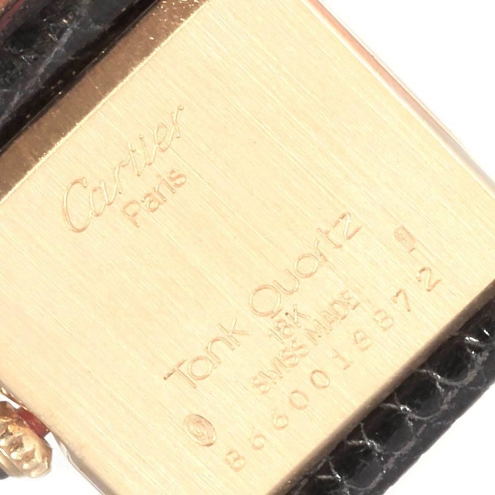 22541 Cartier Tank Classic Paris 18k Yellow Gold Black Strap Ladies Watch SwissWatchExpo