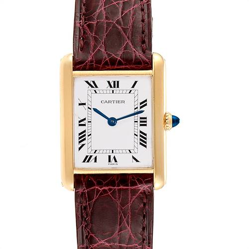 Photo of Cartier Tank Classic Paris 18k Yellow Gold Burgundy Strap Ladies Watch