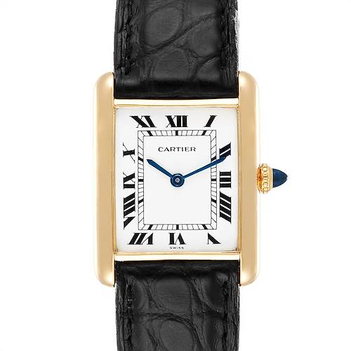 Photo of Cartier Tank Classic Paris Black Strap 18k Yellow Gold Unisex Watch
