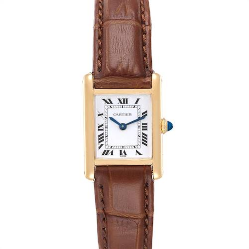 Photo of Cartier Tank Classic Paris 18k Yellow Gold Brown Strap Ladies Watch