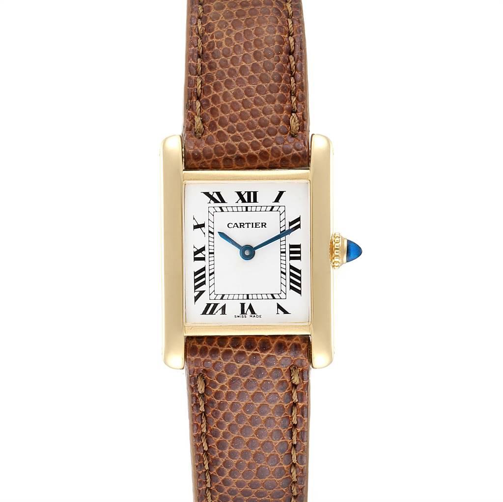 Cartier Tank Classic Paris 18k Yellow Gold Brown Strap Ladies Watch