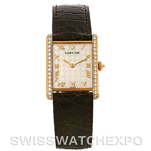 4181 Cartier Tank Mecanique 18K Yellow Gold Diamond Ladies Watch SwissWatchExpo