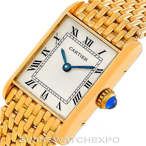 5721 Cartier Tank Classic Paris Ladies 18k Yellow Gold Watch SwissWatchExpo