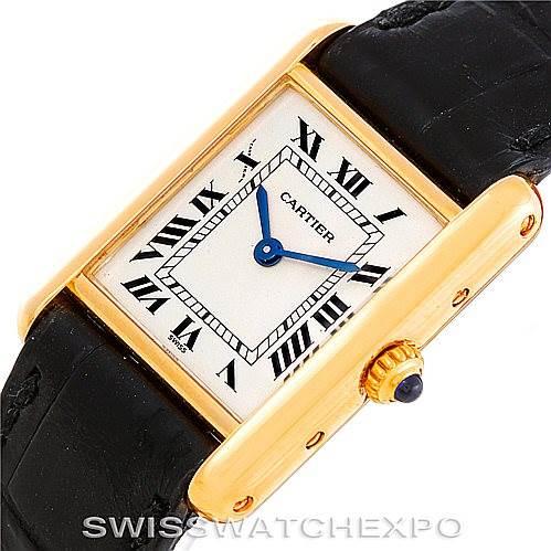 6366 Cartier Tank Classic Ladies 18k Yellow Gold Quartz Watch SwissWatchExpo