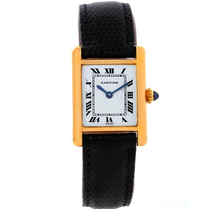 8771 Cartier Tank Classic Paris Small 18k Yellow Gold Ladies Watch SwissWatchExpo
