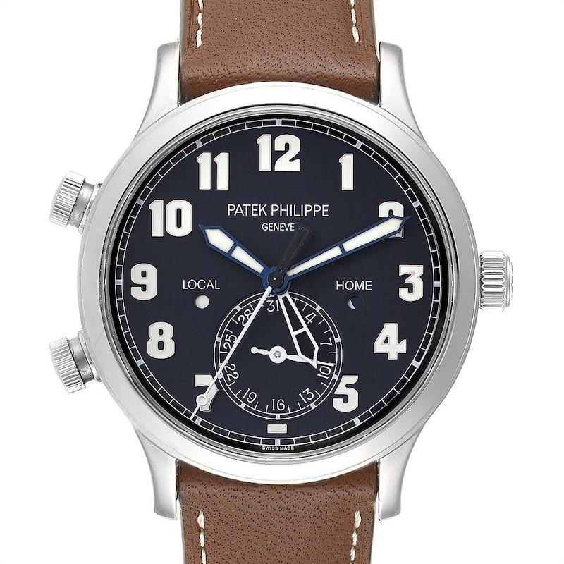 Patek Philippe Calatrava White Gold Pilot Travel Time Watch 5524 Box Papers SwissWatchExpo