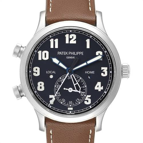 Photo of Patek Philippe Calatrava White Gold Pilot Travel Time Watch 5524 Box Papers