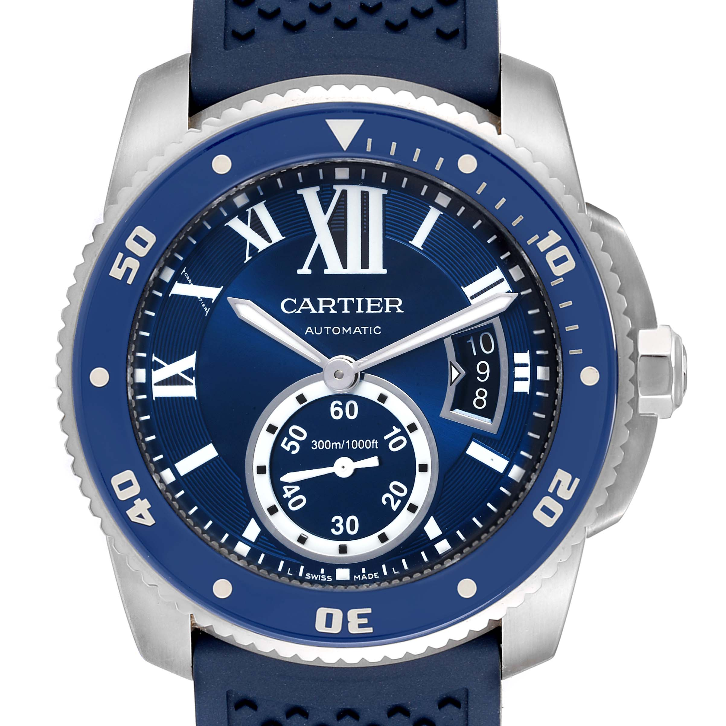 Cartier Calibre Diver Blue Dial Rubber Strap Steel Mens Watch WSCA0011