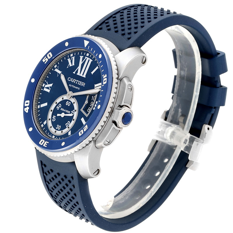 Cartier Calibre Diver Blue Dial Rubber Strap Steel Mens Watch WSCA0011 SwissWatchExpo
