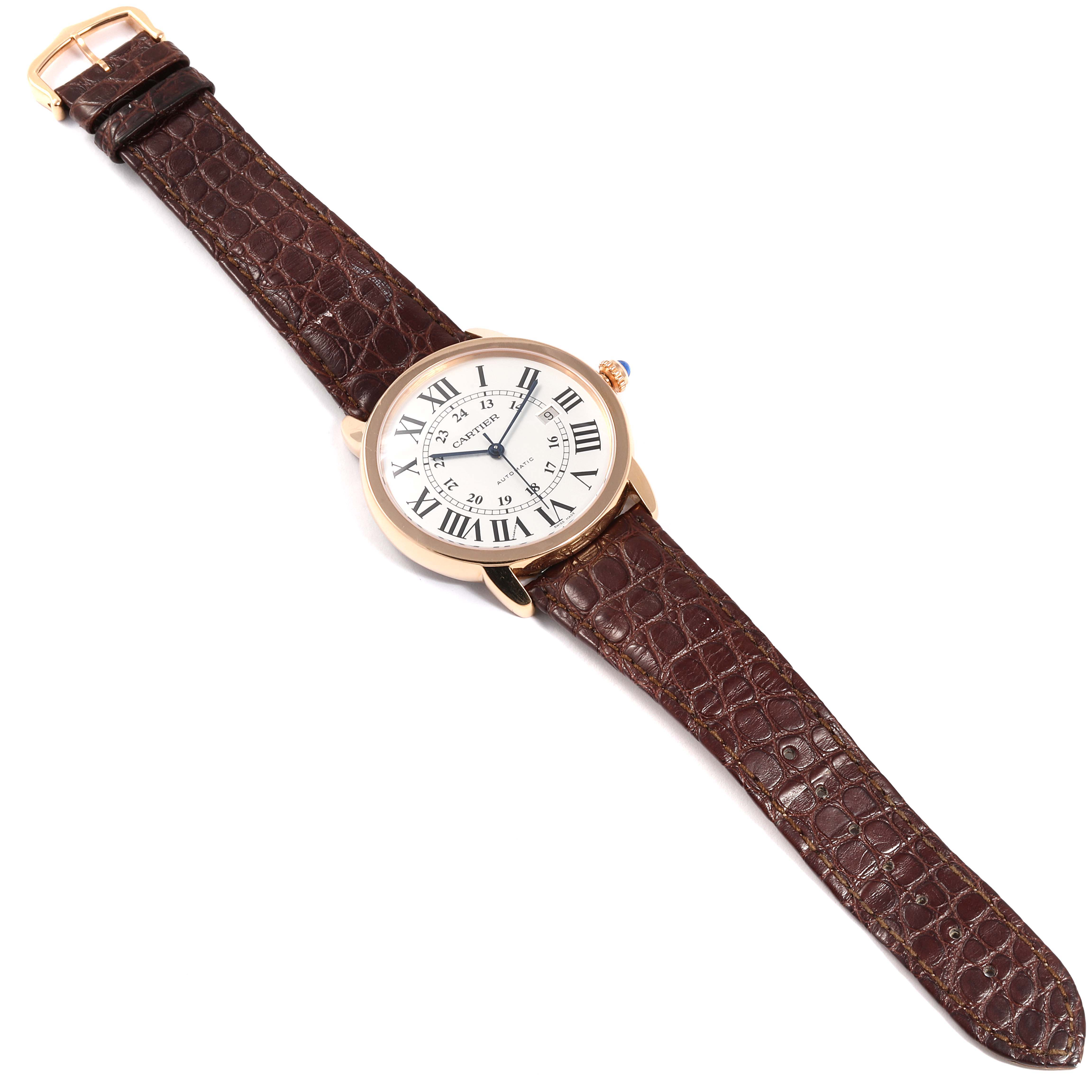 Cartier Ronde Solo XL Rose Gold Steel Mens Watch W6701009 Box Papers SwissWatchExpo