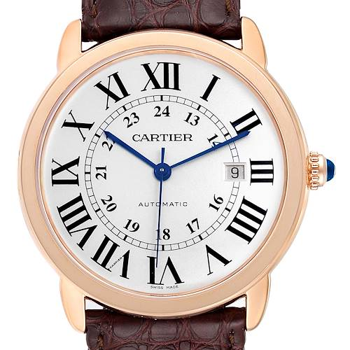 Photo of Cartier Ronde Solo XL Rose Gold Steel Mens Watch W6701009 Box Papers