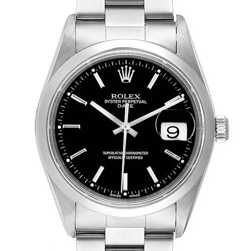 Photo of Rolex Date Black Dial Oyster Bracelet Steel Mens Watch 15200