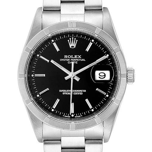 Photo of Rolex Date Black Dial Oyster Bracelet Steel Mens Watch 15210