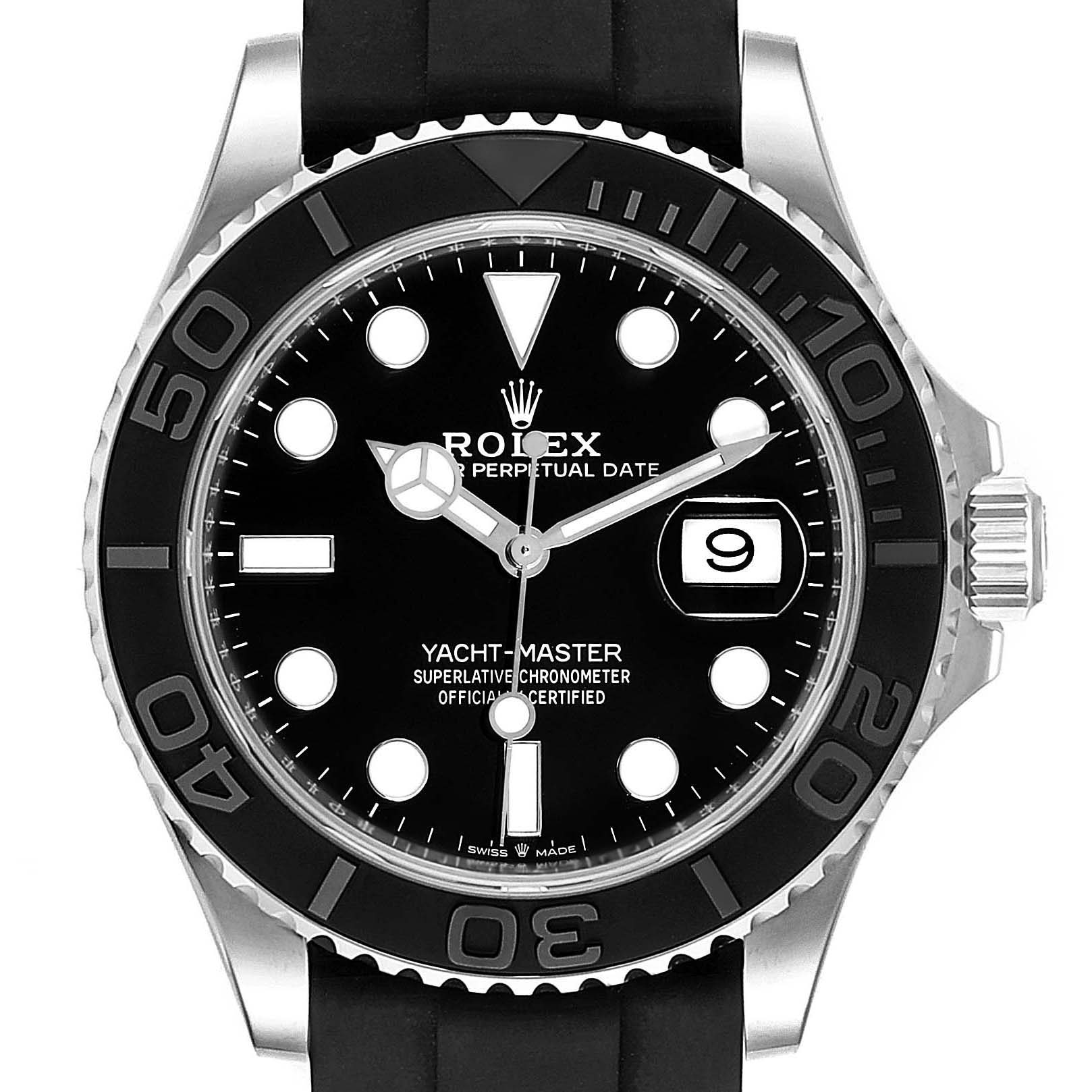 Rolex Yachtmaster White Gold Black Rubber Strap Watch 226659 Box Card