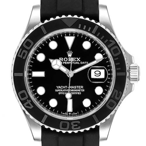 Photo of Rolex Yachtmaster White Gold Black Rubber Strap Watch 226659 Box Card