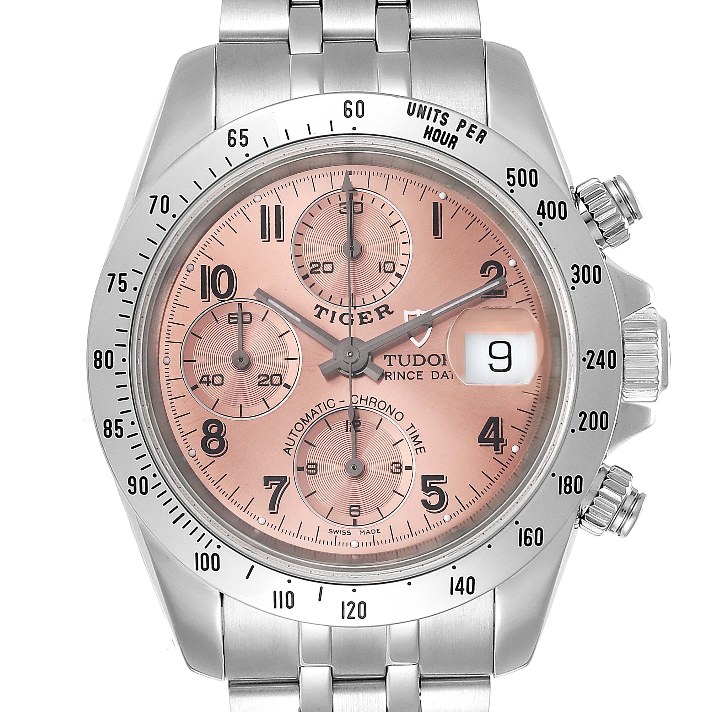 Photo of Tudor Prince Salmon Dial Chronograph Steel Mens Watch 79280