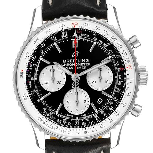 Photo of Breitling Navitimer 01 Black Dial Steel Mens Watch AB0121 Box Card