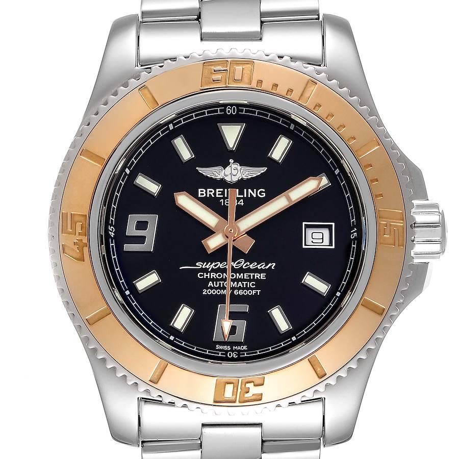 Breitling Superocean 44 Steel Rose Gold Black Dial Mens Watch C17391 SwissWatchExpo