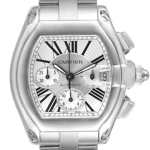 Photo of Cartier Roadster Silver Dial Chronograph Steel Mens Watch W62019X6