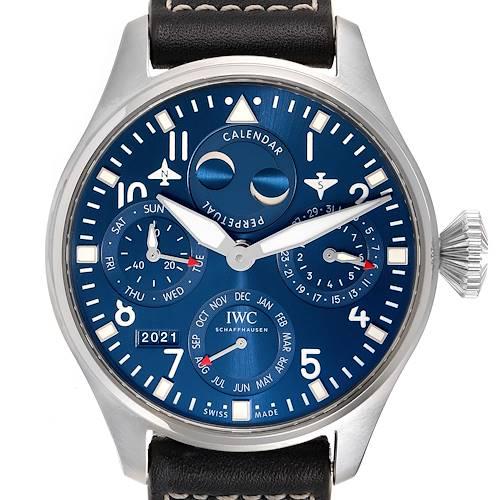 Photo of IWC Pilot Perpetual Calendar Blue Dial Steel Mens Watch IW503605 Box Card