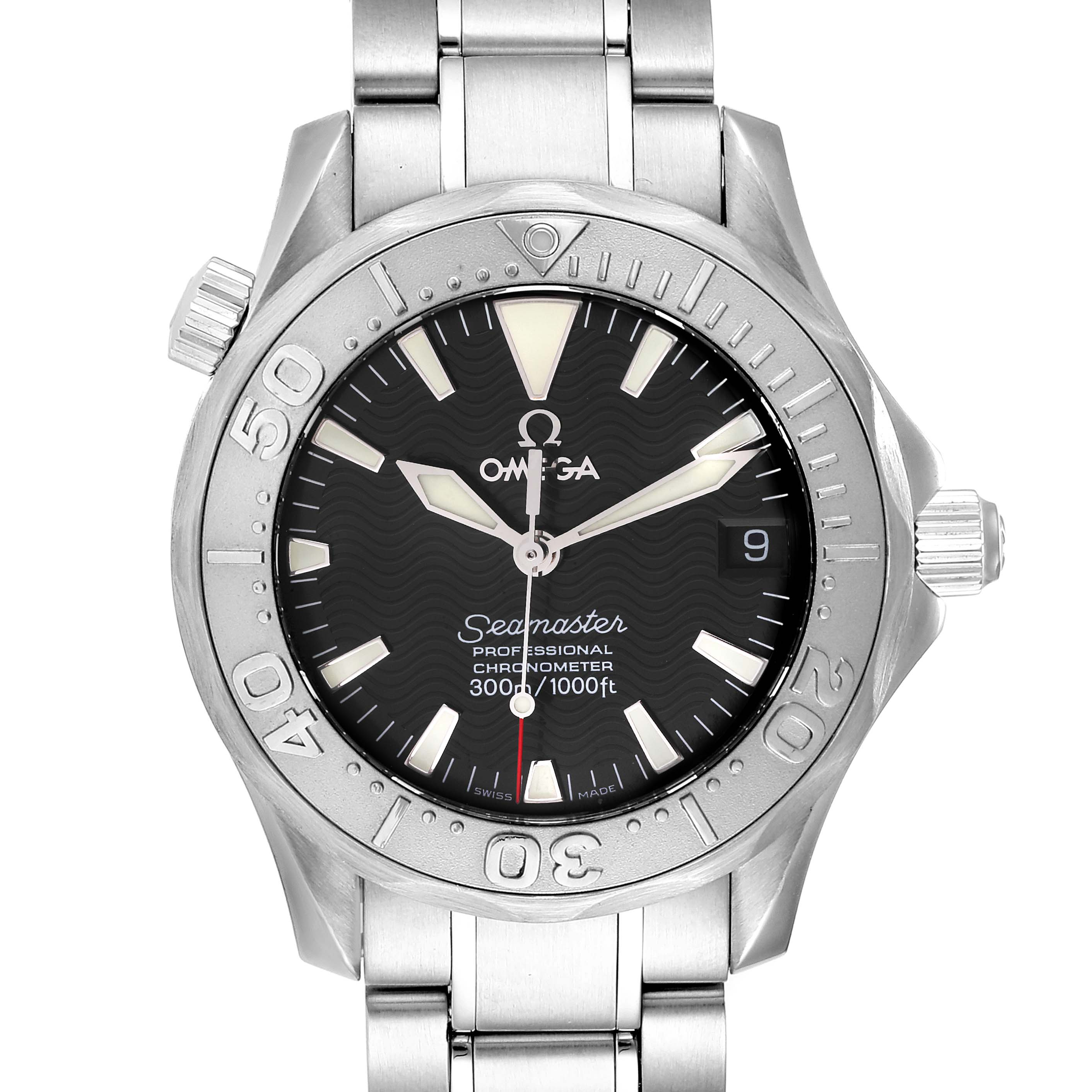 Omega Seamaster 36mm Midsize Black Wave Dial Steel Watch 2236.50.00 Card