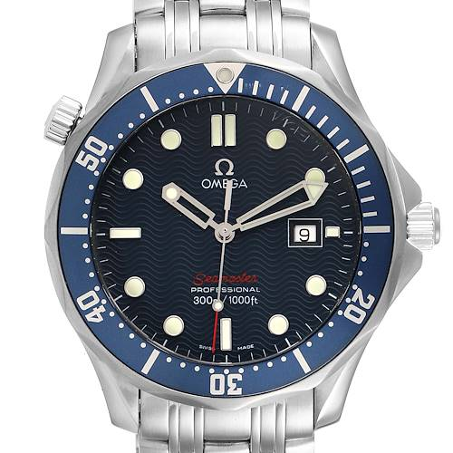 Photo of Omega Seamaster Bond 300M Blue Wave Dial Mens Watch 2221.80.00 Card