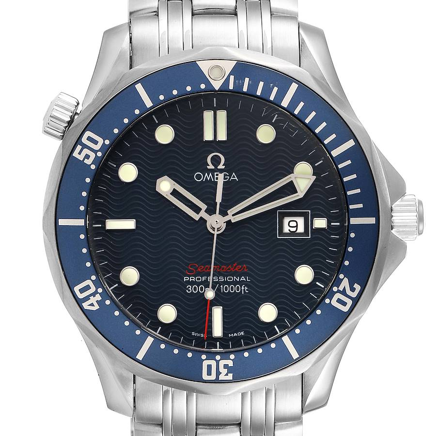 Omega Seamaster Bond 300M Blue Wave Dial Mens Watch 2221.80.00 Card SwissWatchExpo