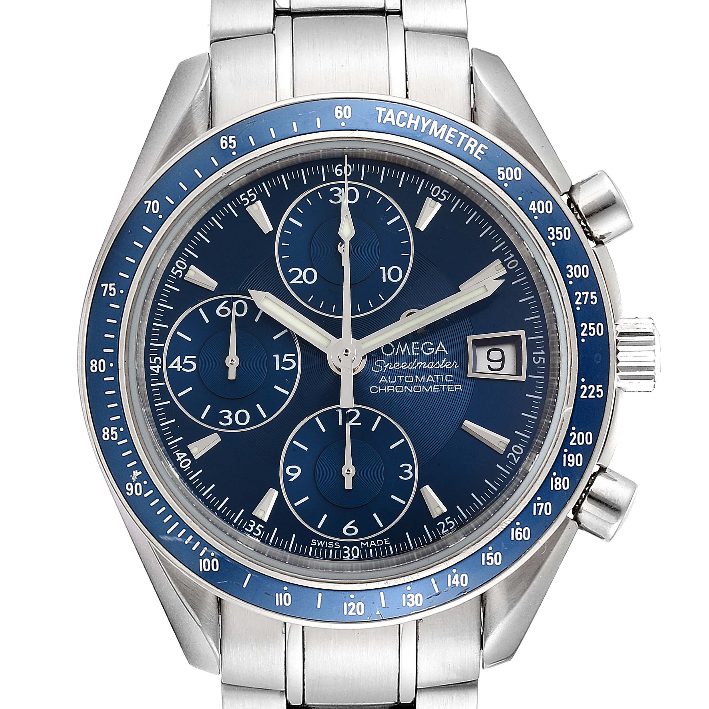 Omega Speedmaster Date Blue Dial Chrono Watch 3212.80.00 Card