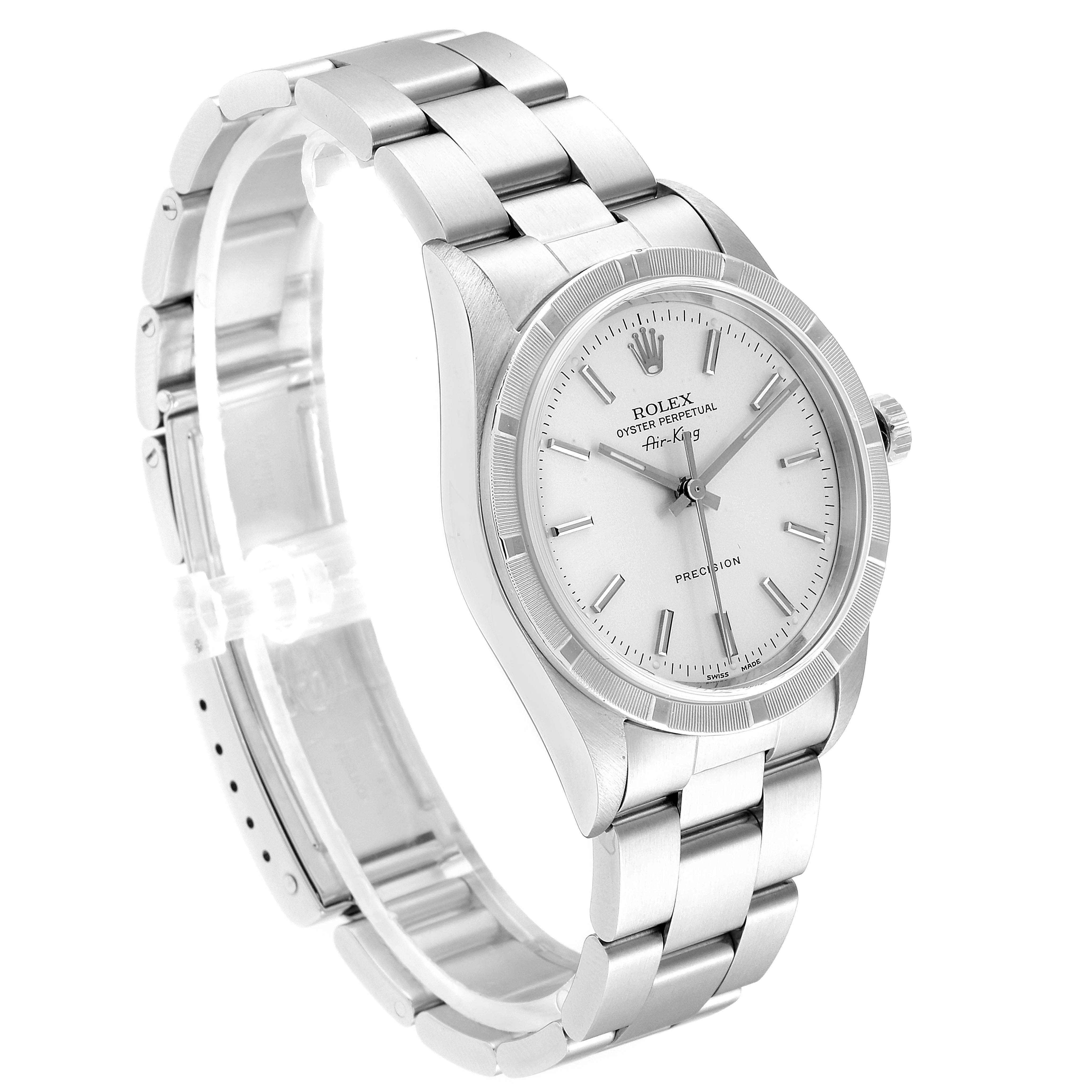 Rolex Air King Silver Dial 34mm Oyster Bracelet Steel Mens Watch 14010 SwissWatchExpo