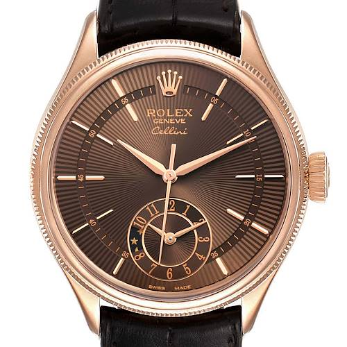 Photo of Rolex Cellini Dual Time Everose Rose Gold Automatic Mens Watch 50525 Unworn