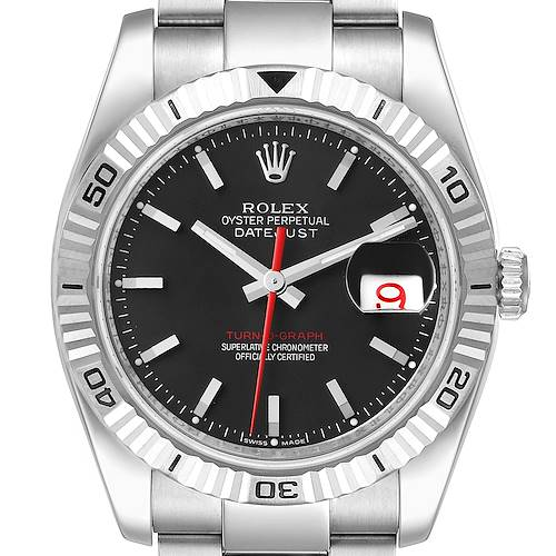Photo of Rolex Datejust 36 Turnograph Black Dial Steel Mens Watch 116264 Box Papers