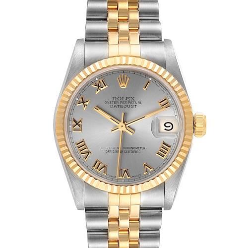 Photo of Rolex Datejust Midsize 31 Slate Roman Dial Steel Yellow Gold Watch 68273