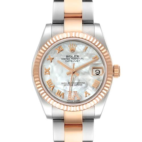 Photo of Rolex Datejust Midsize Steel Rose Gold MOP Diamond Watch 178271 Box Card