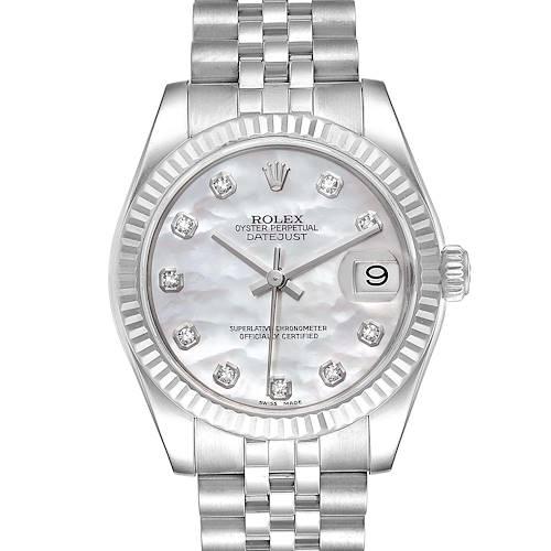 Photo of Rolex Datejust Midsize Steel White Gold MOP Diamond Ladies Watch 178274