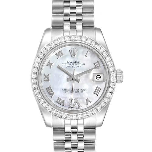 Photo of Rolex Datejust Midsize Steel White Gold MOP Diamond Ladies Watch 178384