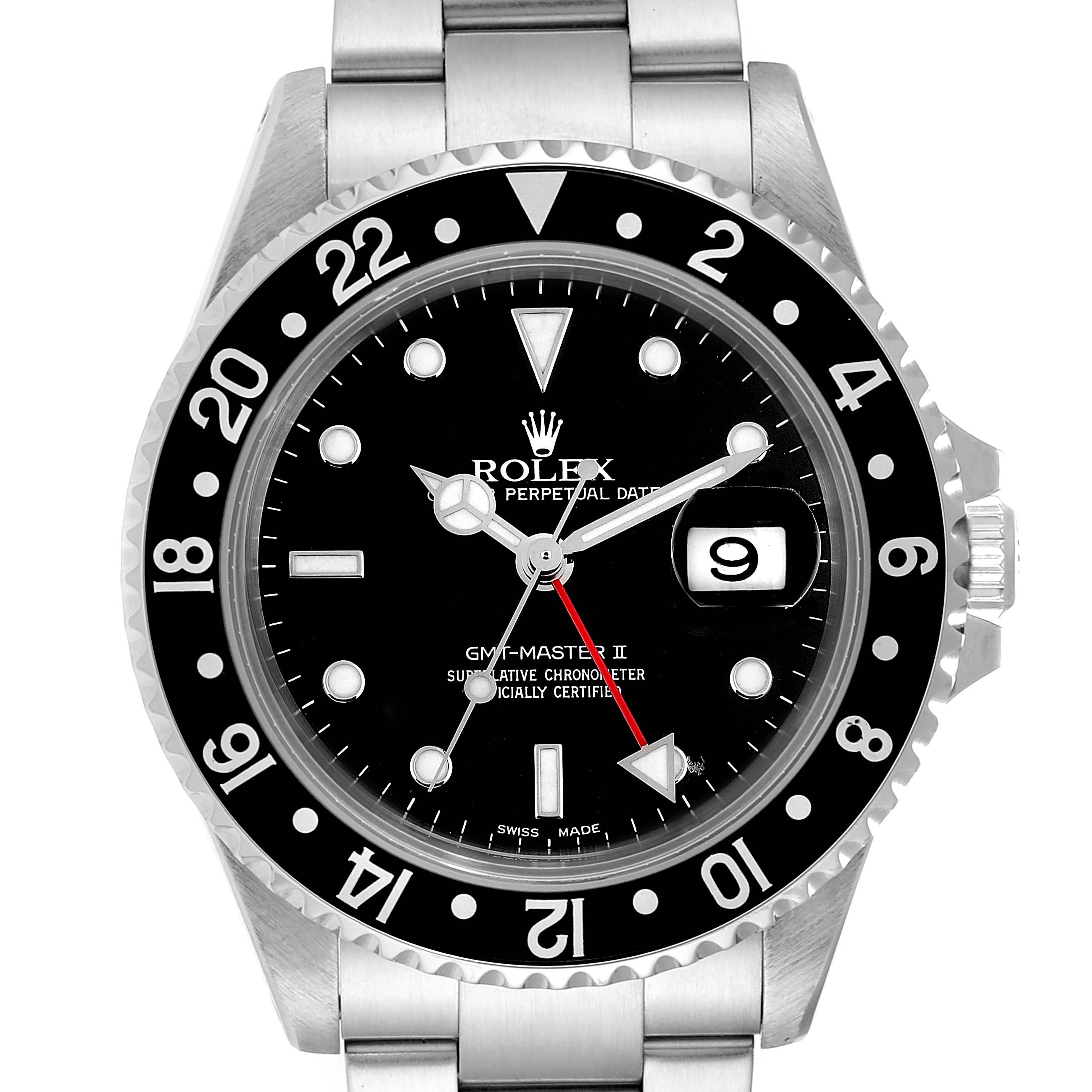 Rolex GMT Master II Black Bezel Red Hand Steel Mens Watch 16710