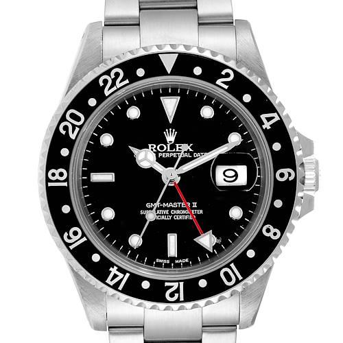 Photo of Rolex GMT Master II Black Bezel Red Hand Steel Mens Watch 16710