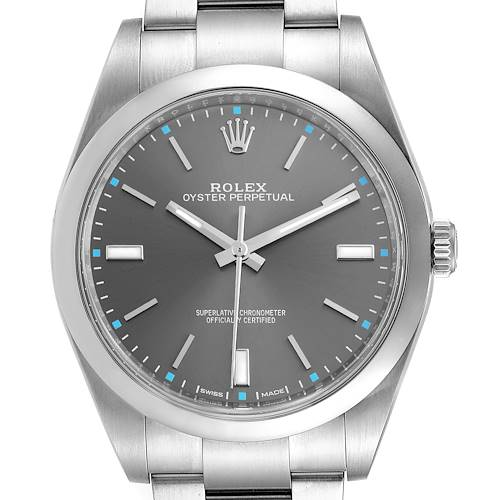 Photo of Rolex Oyster Perpetual 39 Slate Dial Steel Mens Watch 114300 Box Card