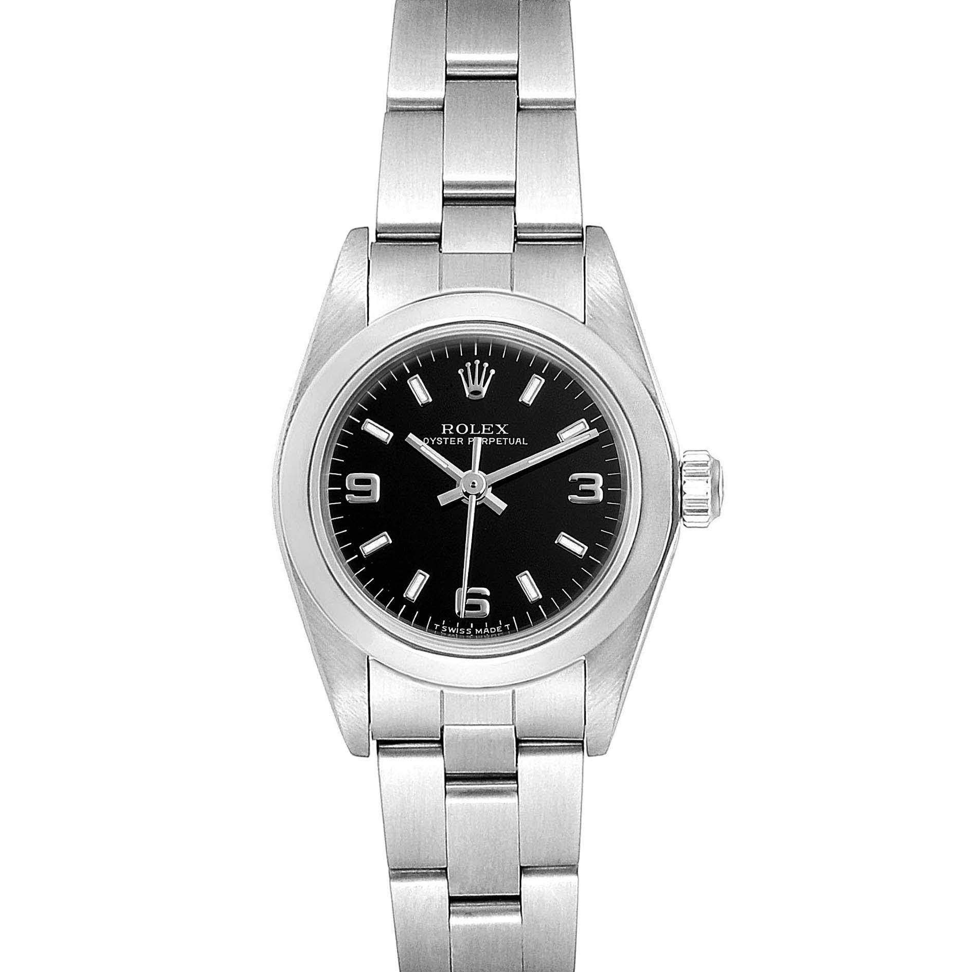 Rolex Oyster Perpetual Nondate Steel Black Dial Ladies Watch 67180