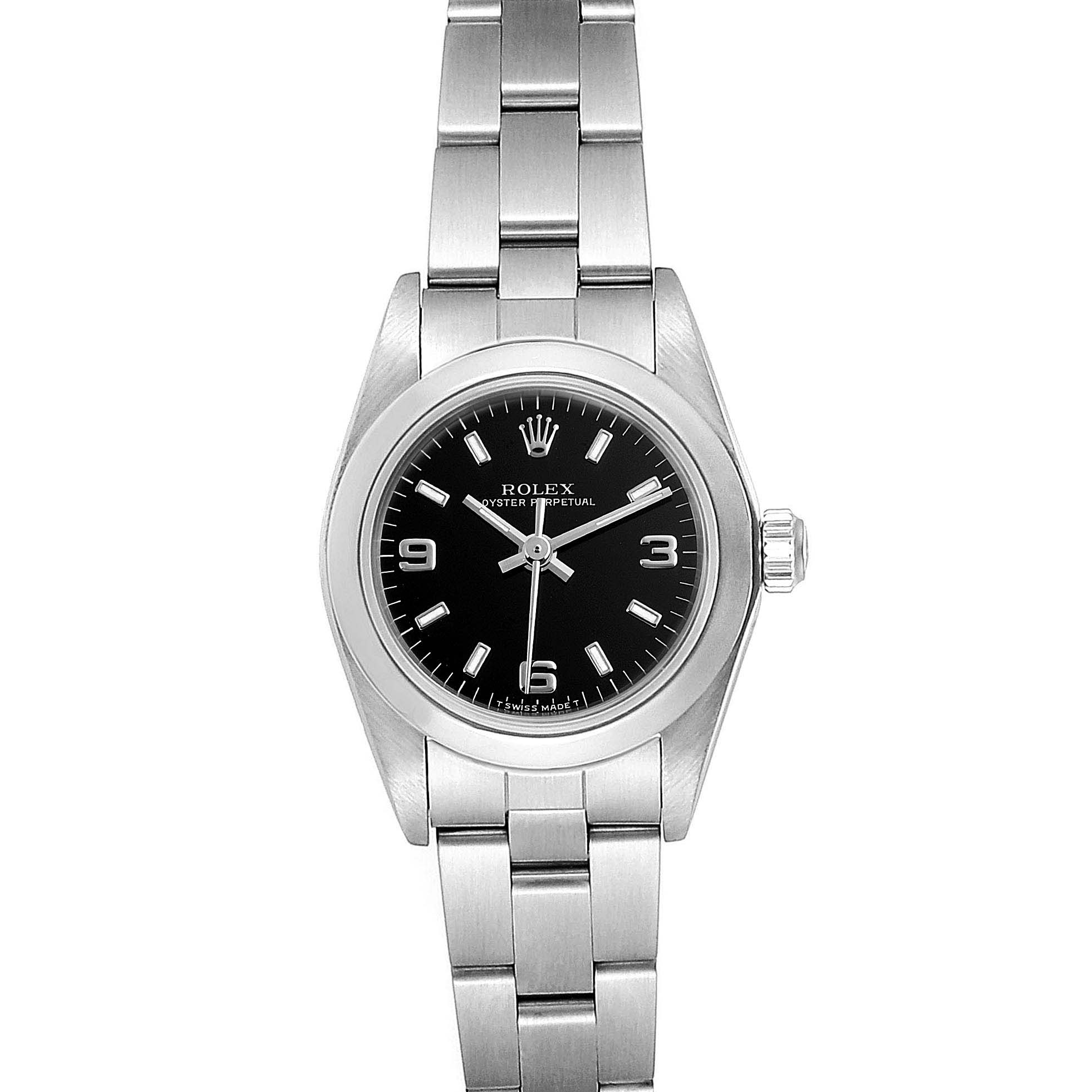 Rolex Oyster Perpetual Steel Black Dial Ladies Watch 67180 Box Papers